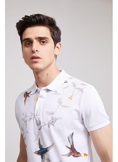 D'S Damat Ds Damat Slim Fit Beyaz Baskılı T-Shirt Pembe